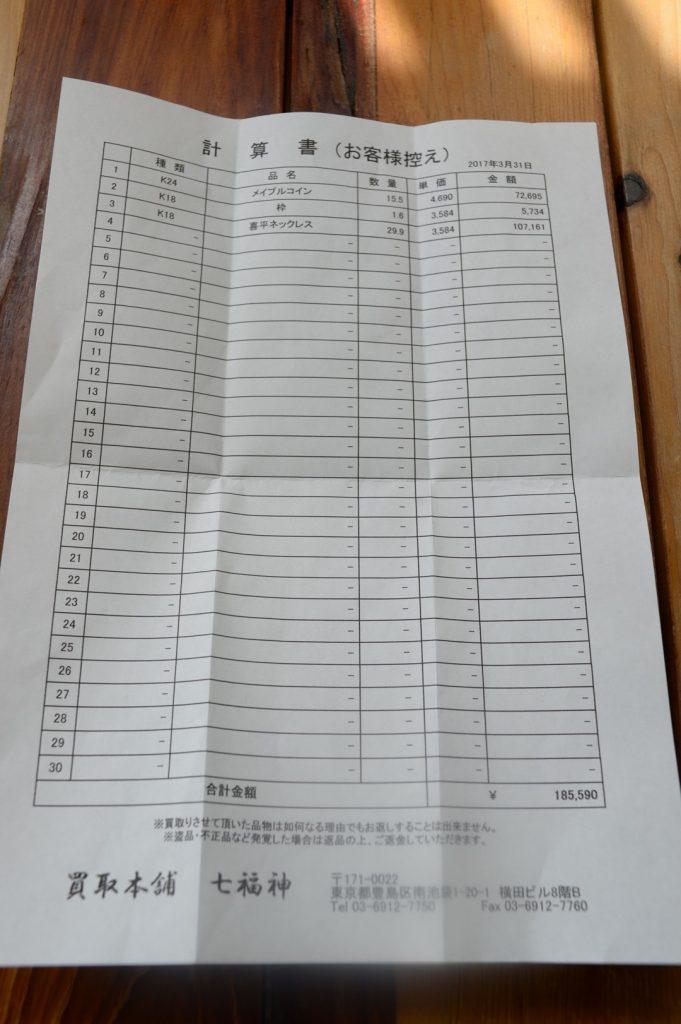 七福神店頭査定結果